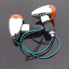2x Chrome Motorcycle Bullet Front Rear Turn Signal Blinker Indicator Amber Light