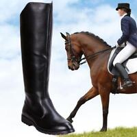 New Riding Boots Mens Military Knight PU Leather Knee High Equestrian Boots Chic