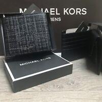 New MICHAEL KORS Men's Wallet Billfold Coin Leather Grey/ Black 100% Genuine