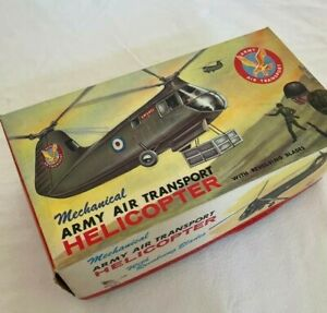 Mechanical Army Air Transport Toy Helicopter - Vintage Wind Up Toy