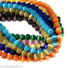 50Pcs Hi-Q Cats Eye Jewellery Craft Beads Loose Round Beads 13 Colours 8mm