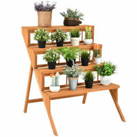 4 Tier Wood Plant Stand Flower Pot Holder Display Shelves Rack Stand Ladder Step