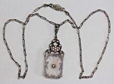 """Antique Art Deco Camphor Glass Sterling Silver Pendant & 16"""" Necklace"""