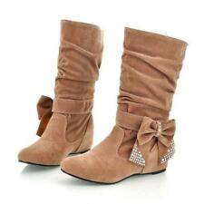 Stylish Womens Hidden Wedge Heel Mid-Calf Bowknot Boots Casual Shoes Plus Size
