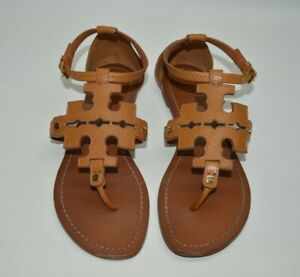 Tory Burch Phoebe Ankle Strap Tumbled Leather Royal Tan Sandals Size 9