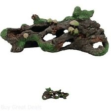 Hollow Log with Moss Cover/Mushroom Betta Aquarium Decor New