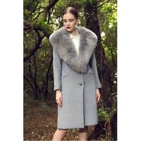 Women Gift Real Natural Full Pelt (Vulpes) Fox Fur Collar Cashmere Coat Overcoat