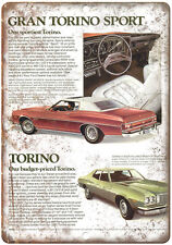 "1975 - Ford Gran Torino Vintage Ad - 10"" x 7"" Retro Look Metal Sign"