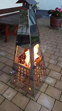 Feuerschale, Feuersäule, Feuerpyramide, Edelstahloptik 120 cm
