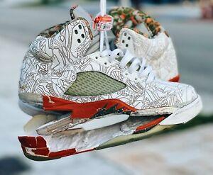2006 Nike Air Jordan 5 Retro RA SZ 9 White Laser Orange 315749-131 RESTORATION!