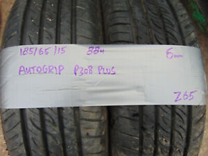 Matching Pair Part Worn Warn Tyres Autogrip P308 Plus 185/65/15 6mm 88H