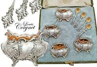 Boxed French Sterling Silver Open Salt Cellars and Salt Spoons - Rococo decor