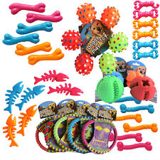 Bulk Mixed Pet Dog Squeaky Chew Rope Balls Rubber Fetch Toys X 10 Dog Toy Pack