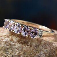 Pink Tanzanite VERY RARE & Baguette Diamond 9K Y Gold Ring Size O/7 RRP £499.99