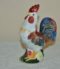 """Vtg Farmhouse ROOSTER Bird Figurine Brightly Painted Ceramic 2001 YH 5.2"""" H"""