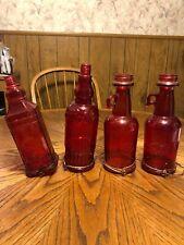 Vintage Red Glass Bird Feeder Lot- 2 Cb & Sons Hummingbird Nectar + 2 Other Gems