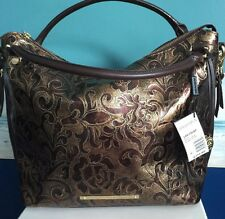 BRAHMIN NORAH GATSBY Bronze Metallic Brown EMBOSSED LEATHER SHOULDER BAG