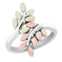 Tri-color Black Hills Gold on Sterling Silver Ladies Bypass Ring Size 4 - 10