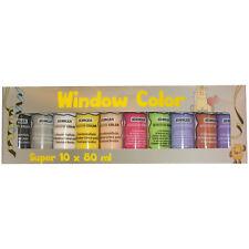Packung mit 10 x 80 ml Flaschen Window Color Farbe Bastelpackung OVP