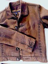 Ralph Lauren Sport Brown Jacket - Antler Buttons -Leather Lacing- Sz 2 Womens