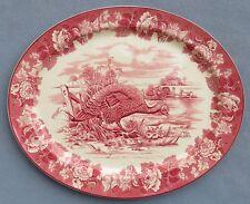 "Huge & Amazing Wood & Sons Pink Transferware English Scenery Turkey Platter 22"""