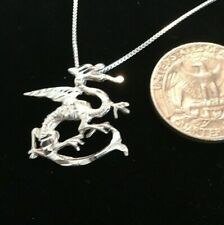 """925 Silver Celtic Dragon on 18"""" Sterling Silver Box Chain"""
