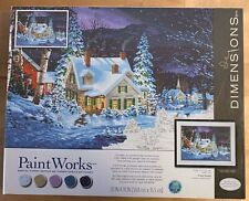 """Paint Works Paint By Number Kit 16""""X20"""" Winter's Hush Snow Dogs House Barn Tree"""
