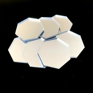 Heptagon Shaped Crafting Mirrors, Set of 10, Many Colours, Shatterproof Acrylic
