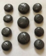 VINTAGE GENUINE LEATHER BUTTONS FOR BLAZER/SPORTCOAT L32&L24-GREY HIGH QUALITY