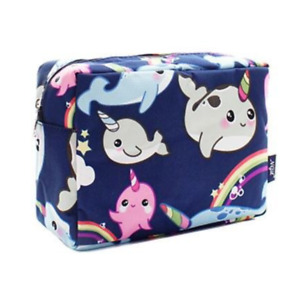 Rainbow Narwhal Blue NGIL Large Cosmetic Makeup Travel Purse Pouch College
