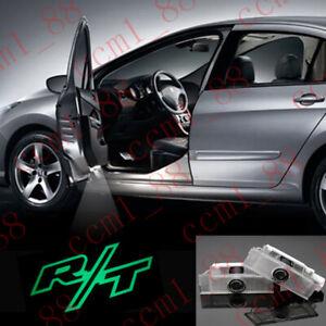2Pcs Green R/T Logo LED Door Courtesy Laser Projector Light For Dodge Challenger