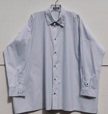 """NEW Eskandar White w/Gray Pinstripe Cotton w/Back Pleats 30"""" Long Shirt (2) $895"""
