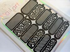 Nail Art Diecut Manicure Stencils Guide Stripes Glass Style Tip Stickers S24