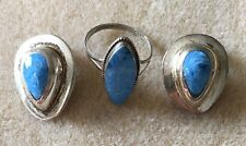 1/2 Clip Earrings Set Mexico 925 Tl-58 Sterling Silver Blue Stone Ring Size 8