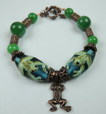 Lampwork Frog Bracelet with Jade and Frog Charm
