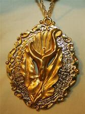 Shiny Large Scalloped Goldtone Sculpted Iris Lily Flower Pendant Necklace