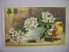 VINTAGE EMBOSSED EASTER POSTCARD CHICK BY OLD SHOE W/FLOWERS UNMAILED