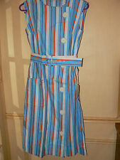 ROBE RAYURES TURQUOISE ANCIENNE VINTAGE NEUVE TISSUS TOILE MAGASIN ST TROPEZ