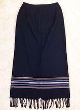 VGT MICHELE Womens 4 Black Striped Tassels Modesty Italian Fabric Long Skirt
