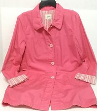 J Jill Womens Size M Jacket 3/4 Sleeve Pink Cotton Lined