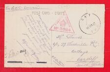 Tpo l'égypte et palestine, C.A.T. passed by censor, militaire cachet postal 1917 WW1