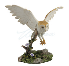 Barn Owl Flying Over Branch Statue Sculpture Figure - GIFT BOXED