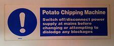 MACCHINA per patate scheggiature segno RISTORAZIONE 300x100mm vinile autoadesivo di Sicurezza fai da te