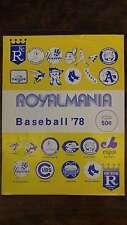 Royalmania Kansas City vs Toronto Blue Jays Baseball 1978 Program J45766