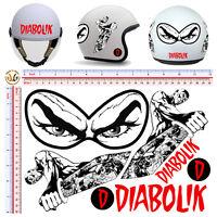 Adesivi casco diabolik vintage sticker helmet decal tuning auto moto 7 pz.