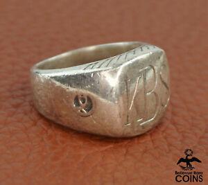 David Yurman Sterling Silver Signet Ring w/Monogram KBS VINTAGE