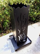"40"" Fire Column, Vertical Wood Burning Fire Pit, Black Metal Flame Design"