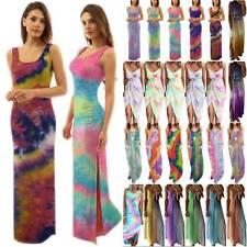 Women Tie Dye Tank Maxi Dress Summer Party Ladies Casual Beach Kaftan Sundress