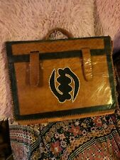 Camel Lovely Vintage Leather Stitched Portfolio Bag