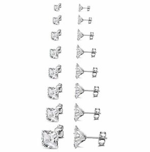 8 Pairs Women Men Stainless Steel Cut Clear Black CZ Stud Earrings Set 3mm-10mm